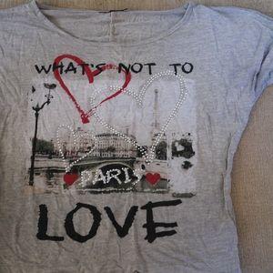 URVANA CUTE PARIS LOVE SHIRT IN GREY